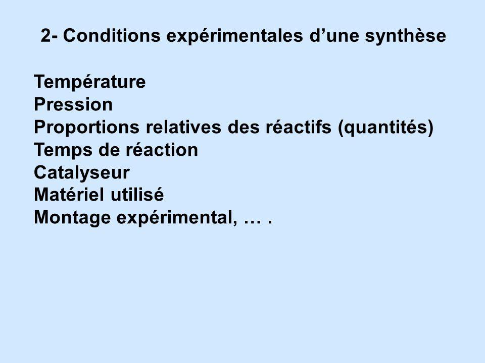 2- Conditions expérimentales dune synthèse Température Pression Proportions relatives des réactifs (quantités) Temps de réaction Catalyseur Matériel u