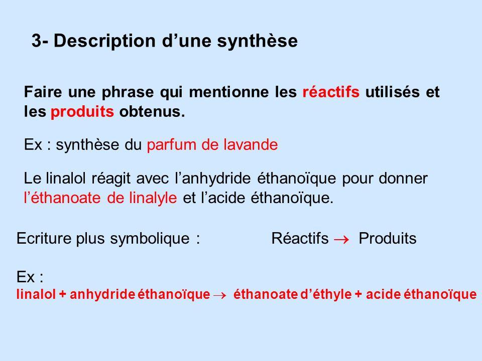3- Description dune synthèse Faire une phrase qui mentionne les réactifs utilisés et les produits obtenus. Ex : synthèse du parfum de lavande Le linal