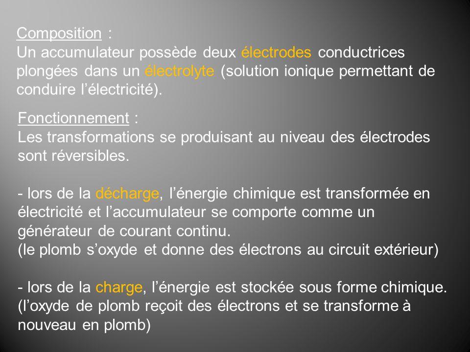 Composition : Un accumulateur possède deux électrodes conductrices plongées dans un électrolyte (solution ionique permettant de conduire lélectricité)