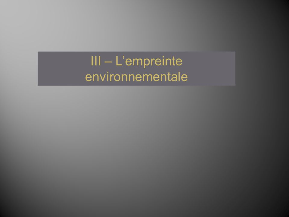 III – Lempreinte environnementale
