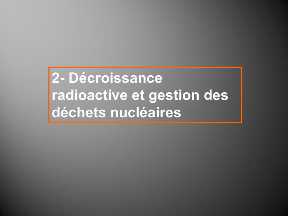2- Décroissance radioactive et gestion des déchets nucléaires