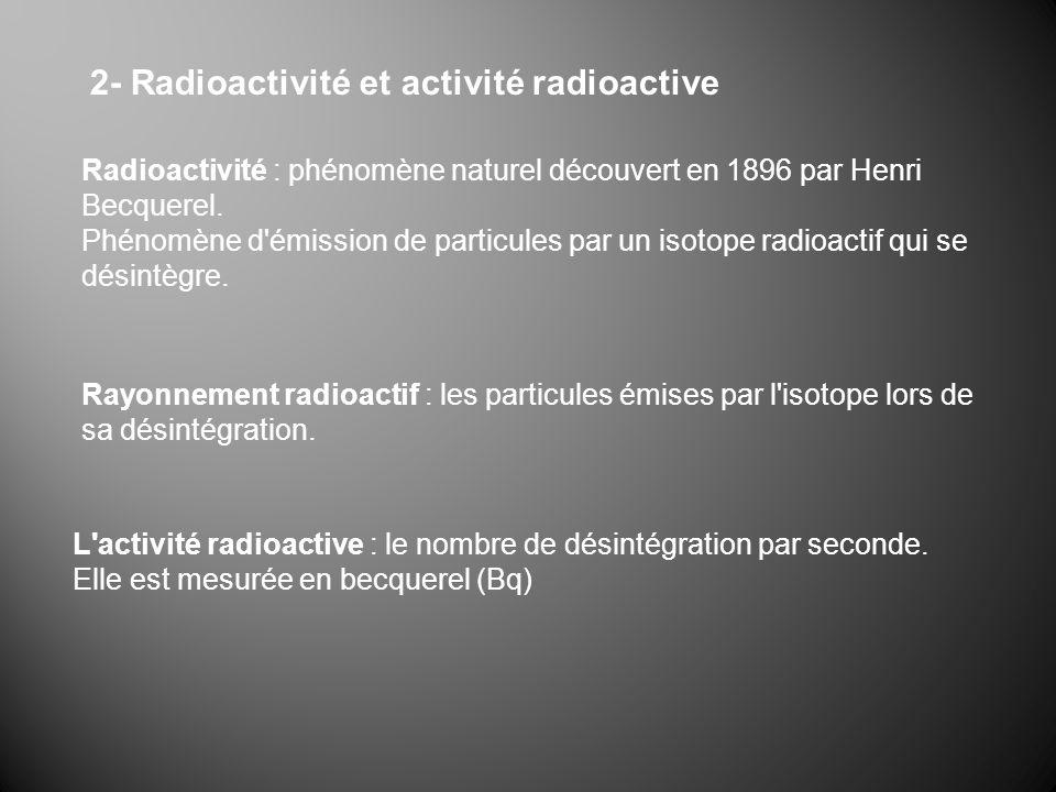 2- Radioactivité et activité radioactive Radioactivité : phénomène naturel découvert en 1896 par Henri Becquerel. Phénomène d'émission de particules p