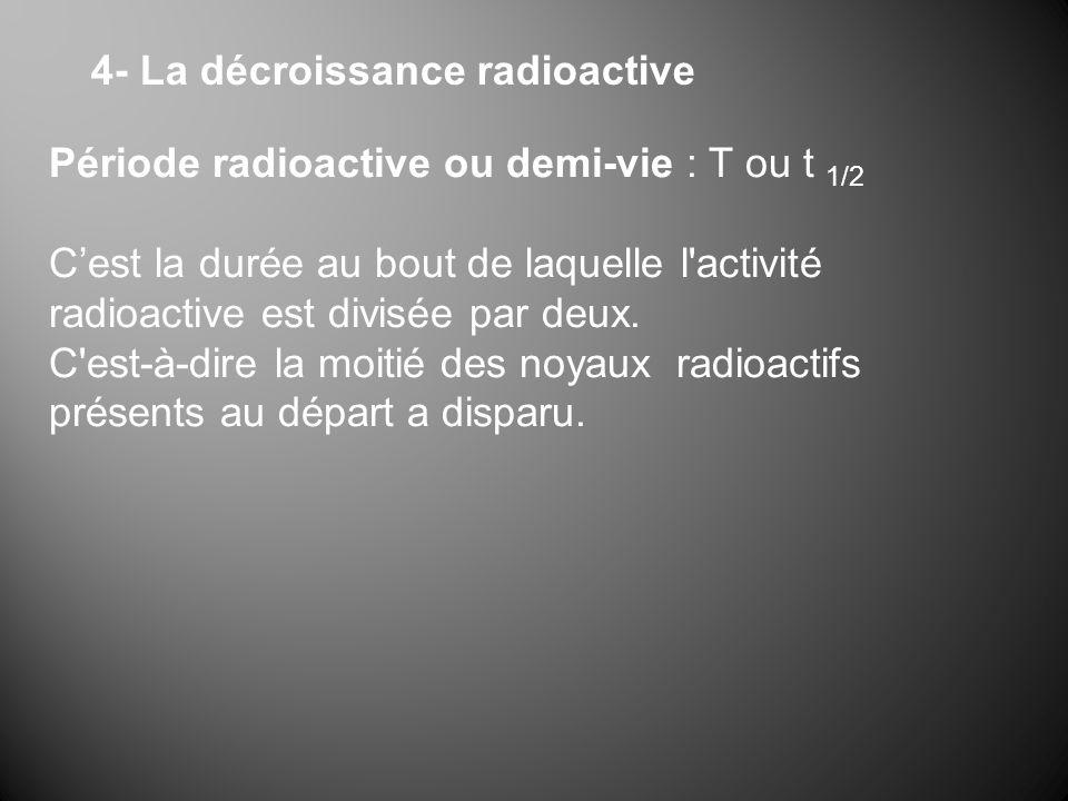 4- La décroissance radioactive Période radioactive ou demi-vie : T ou t 1/2 Cest la durée au bout de laquelle l activité radioactive est divisée par deux.