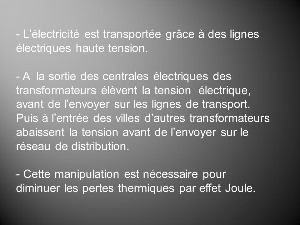 - Lélectricité est transportée grâce à des lignes électriques haute tension. - A la sortie des centrales électriques des transformateurs élèvent la te