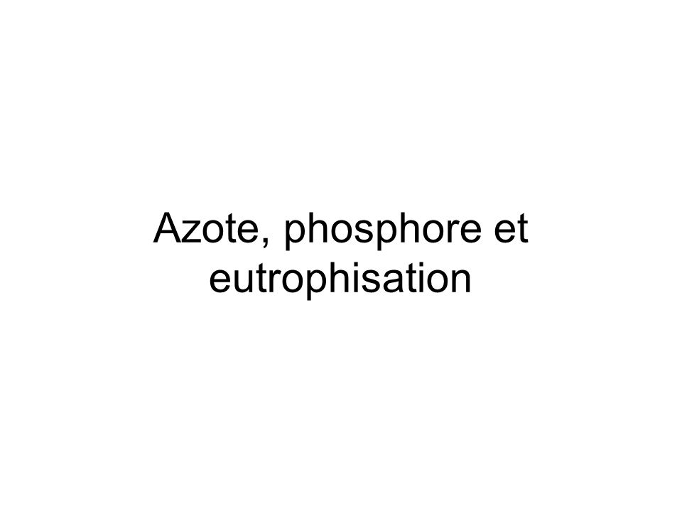 Azote, phosphore et eutrophisation