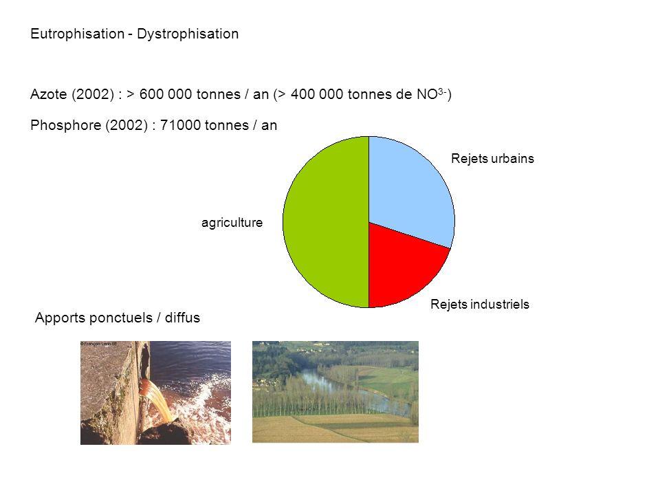 Eutrophisation - Dystrophisation Phosphore (2002) : 71000 tonnes / an agriculture Rejets urbains Rejets industriels Azote (2002) : > 600 000 tonnes /