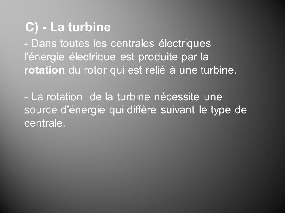- Dans toutes les centrales électriques l'énergie électrique est produite par la rotation du rotor qui est relié à une turbine. - La rotation de la tu