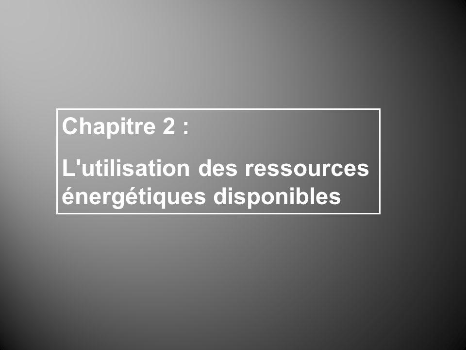 Chapitre 2 : L'utilisation des ressources énergétiques disponibles