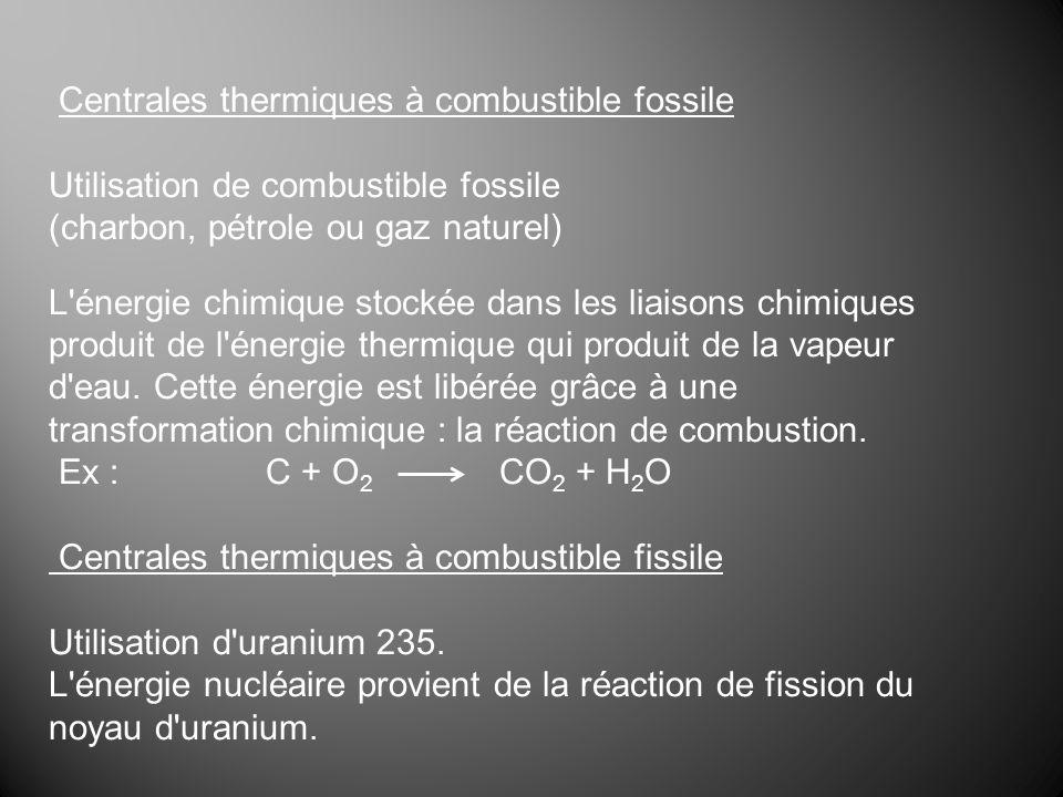 Centrales thermiques à combustible fossile Utilisation de combustible fossile (charbon, pétrole ou gaz naturel) L'énergie chimique stockée dans les li