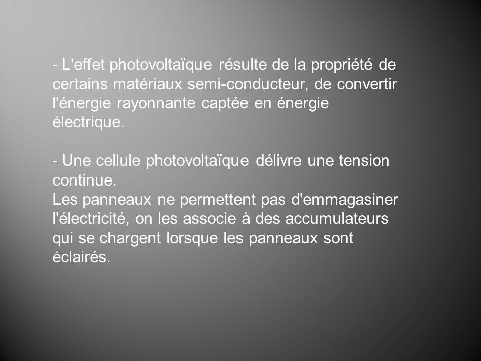 - L'effet photovoltaïque résulte de la propriété de certains matériaux semi-conducteur, de convertir l'énergie rayonnante captée en énergie électrique