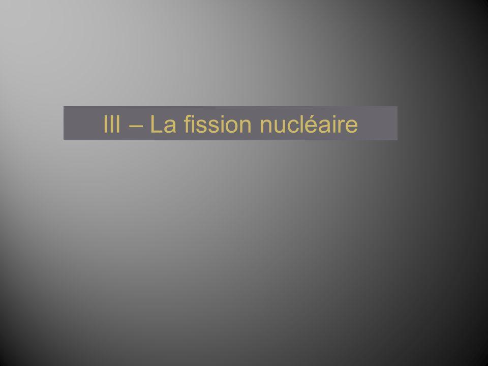 III – La fission nucléaire