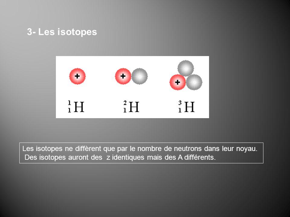 3- Les isotopes Les isotopes ne diffèrent que par le nombre de neutrons dans leur noyau. Des isotopes auront des z identiques mais des A différents.