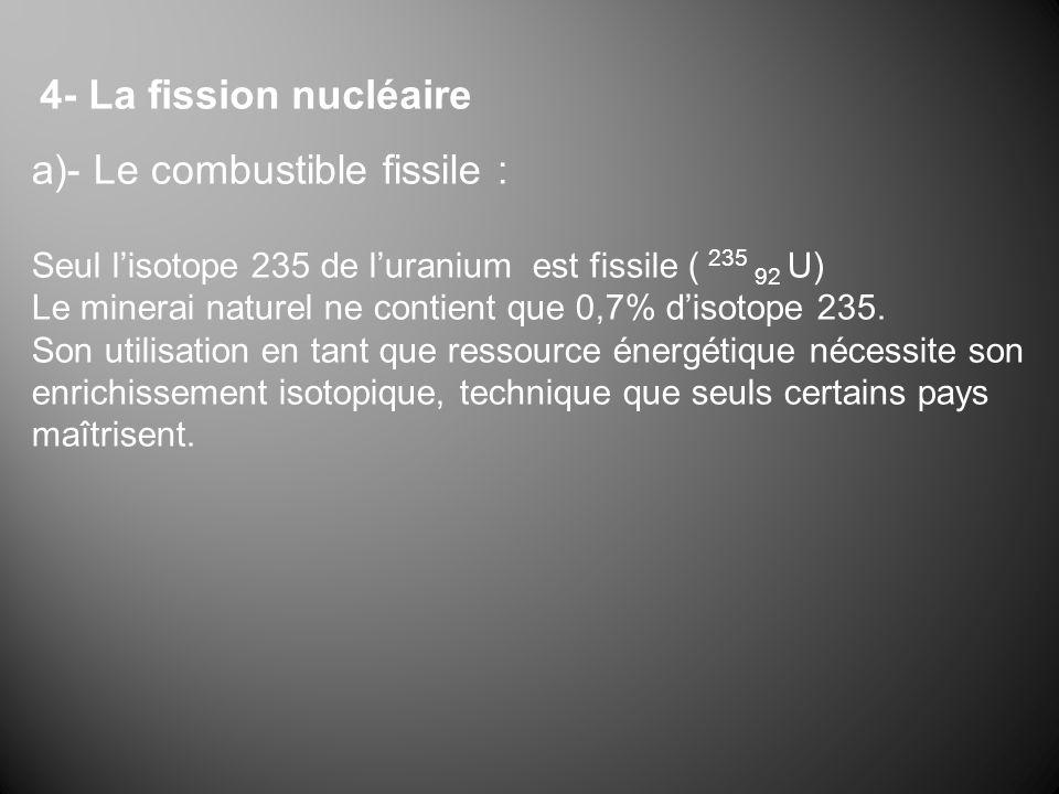 4- La fission nucléaire a)- Le combustible fissile : Seul lisotope 235 de luranium est fissile ( 235 92 U) Le minerai naturel ne contient que 0,7% dis