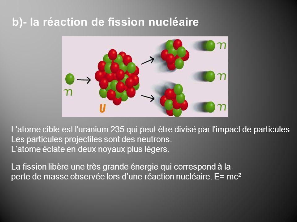 b)- la réaction de fission nucléaire L'atome cible est l'uranium 235 qui peut être divisé par l'impact de particules. Les particules projectiles sont