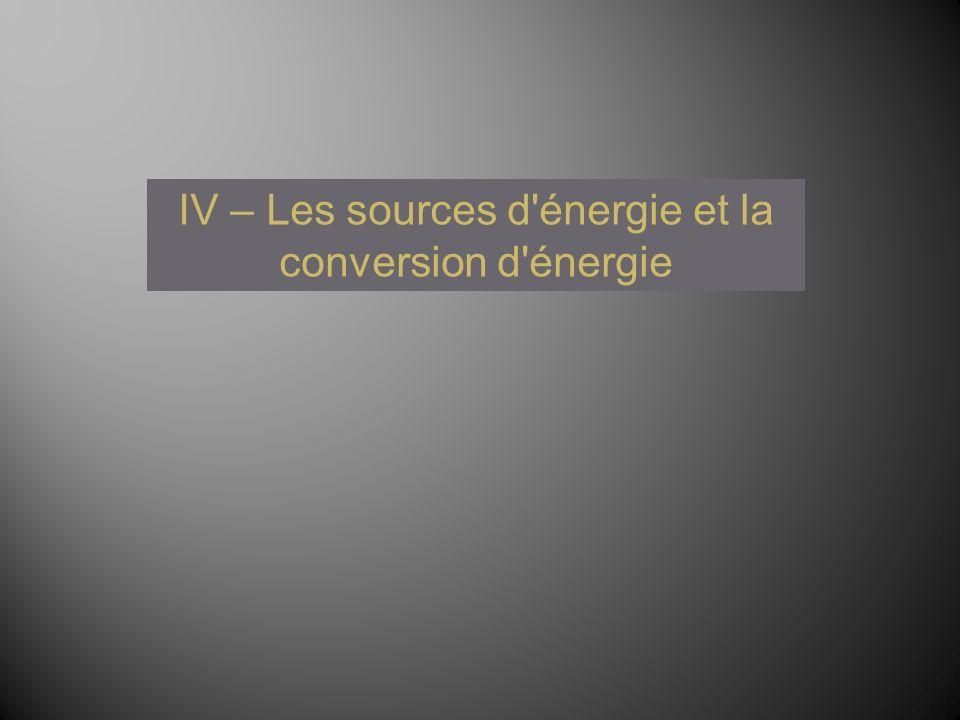 IV – Les sources d'énergie et la conversion d'énergie