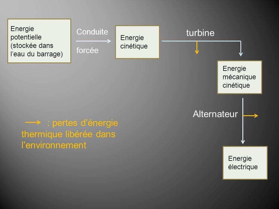 Energie électrique Energie cinétique Energie potentielle (stockée dans leau du barrage) Conduite forcée Alternateur turbine Energie mécanique cinétiqu