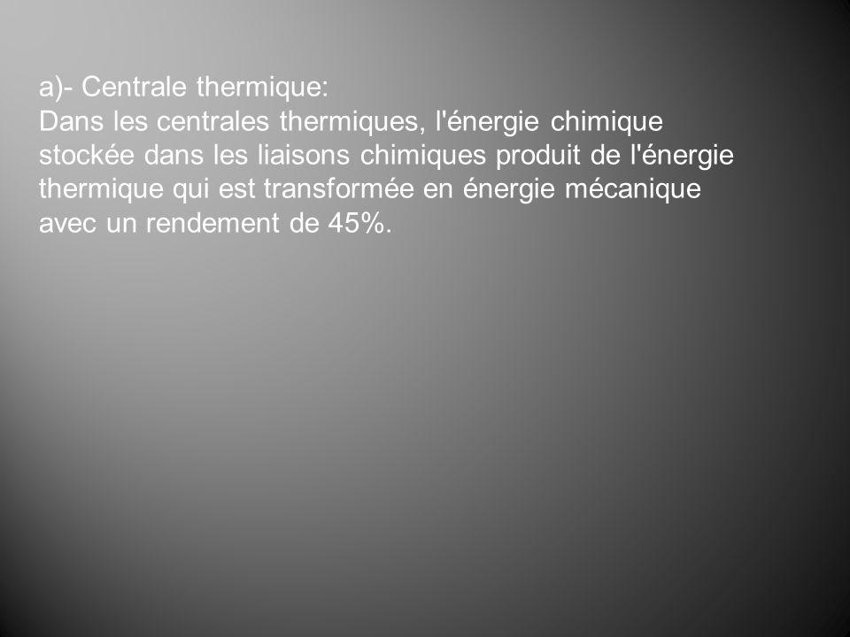 a)- Centrale thermique: Dans les centrales thermiques, l'énergie chimique stockée dans les liaisons chimiques produit de l'énergie thermique qui est t