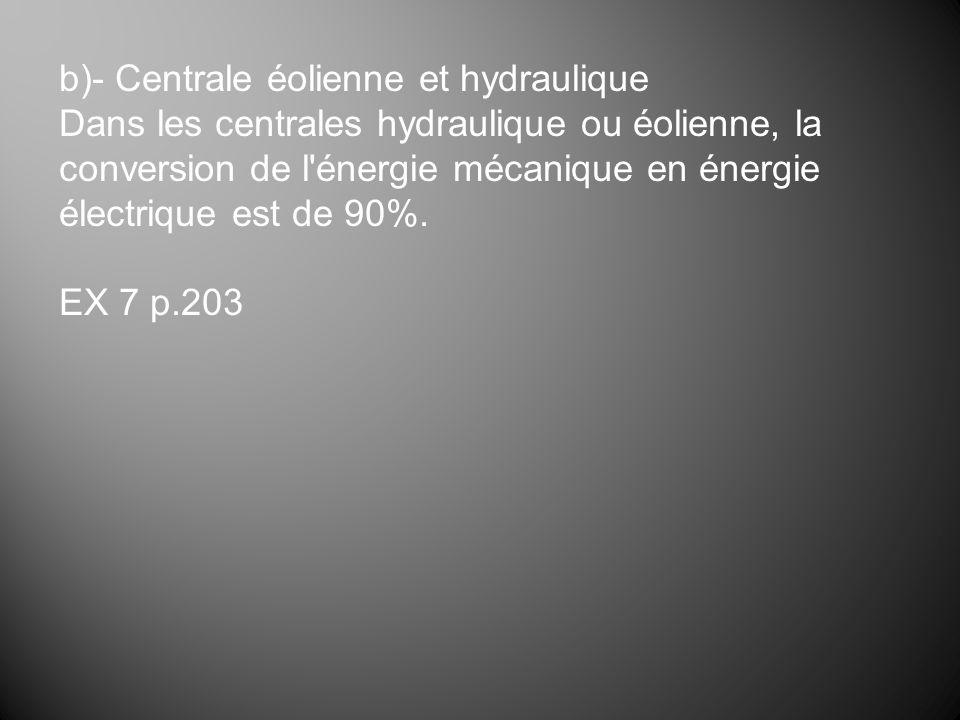 b)- Centrale éolienne et hydraulique Dans les centrales hydraulique ou éolienne, la conversion de l'énergie mécanique en énergie électrique est de 90%