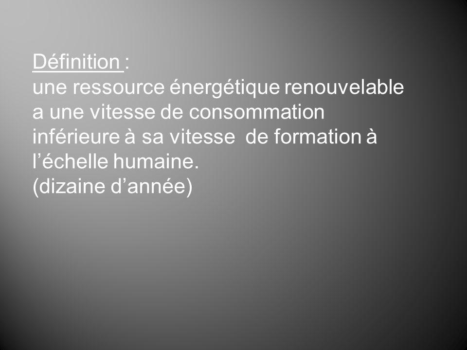 Définition : une ressource énergétique renouvelable a une vitesse de consommation inférieure à sa vitesse de formation à léchelle humaine. (dizaine da