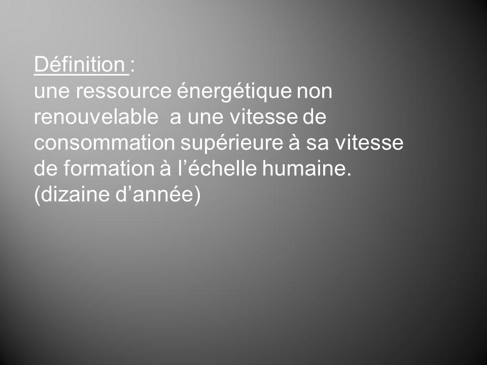 Définition : une ressource énergétique non renouvelable a une vitesse de consommation supérieure à sa vitesse de formation à léchelle humaine. (dizain