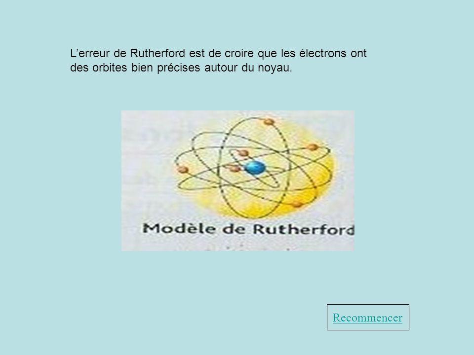 Recommencer Lerreur de Rutherford est de croire que les électrons ont des orbites bien précises autour du noyau.