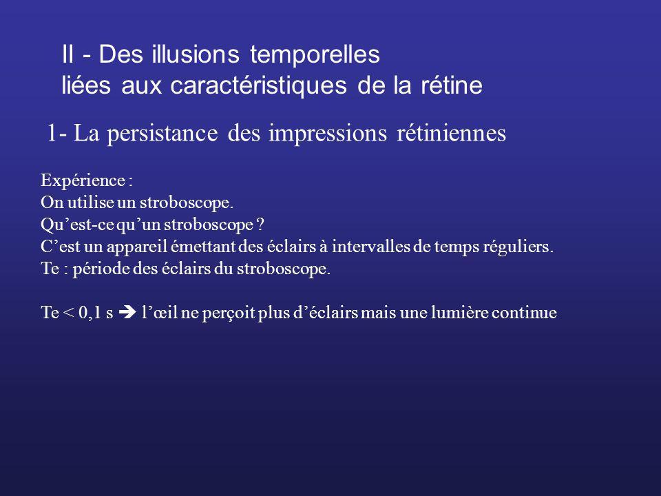 II - Des illusions temporelles liées aux caractéristiques de la rétine 1- La persistance des impressions rétiniennes Expérience : On utilise un strobo