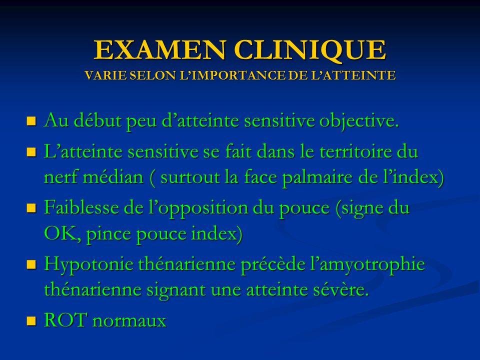 EXAMEN CLINIQUE VARIE SELON LIMPORTANCE DE LATTEINTE Au début peu datteinte sensitive objective.