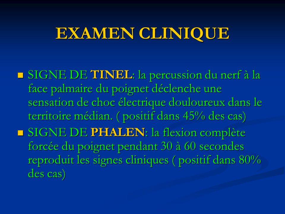 EXAMEN CLINIQUE SIGNE DE TINEL: la percussion du nerf à la face palmaire du poignet déclenche une sensation de choc électrique douloureux dans le territoire médian.