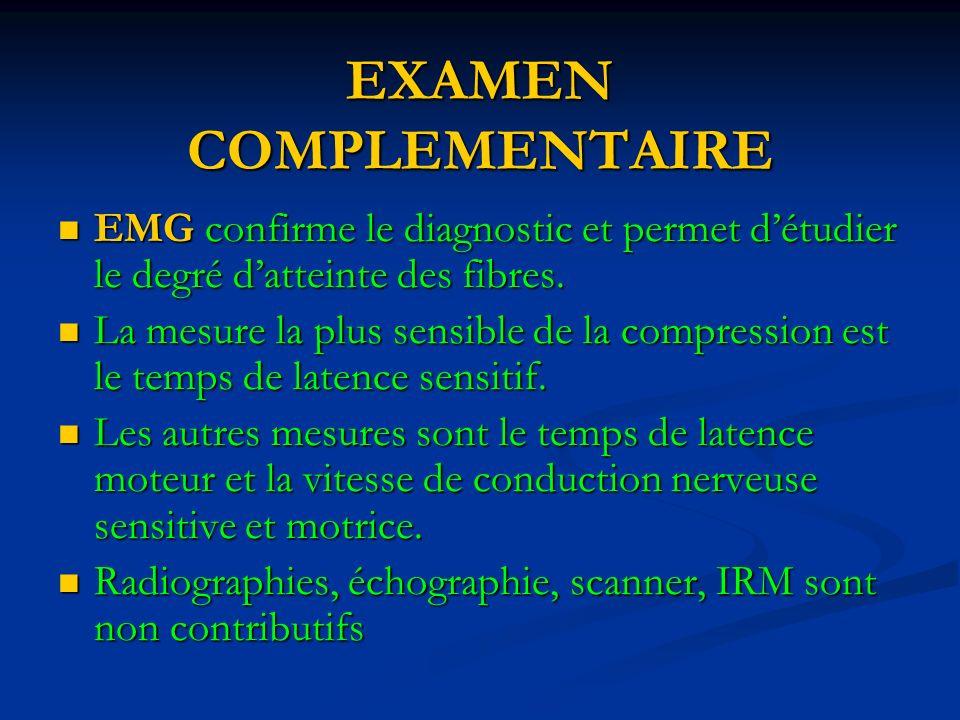 EXAMEN COMPLEMENTAIRE EMG confirme le diagnostic et permet détudier le degré datteinte des fibres.