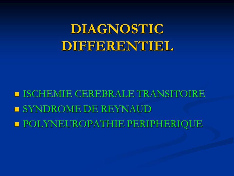 DIAGNOSTIC DIFFERENTIEL ISCHEMIE CEREBRALE TRANSITOIRE ISCHEMIE CEREBRALE TRANSITOIRE SYNDROME DE REYNAUD SYNDROME DE REYNAUD POLYNEUROPATHIE PERIPHERIQUE POLYNEUROPATHIE PERIPHERIQUE