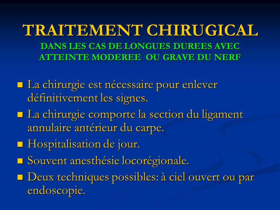 TRAITEMENT CHIRUGICAL DANS LES CAS DE LONGUES DUREES AVEC ATTEINTE MODEREE OU GRAVE DU NERF La chirurgie est nécessaire pour enlever définitivement les signes.