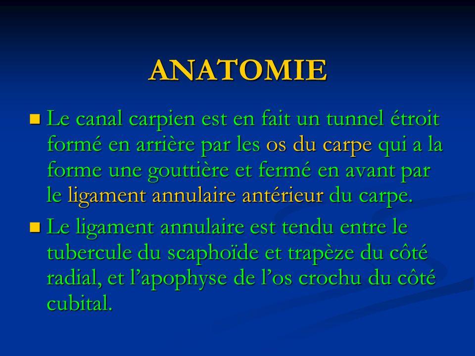 ANATOMIE Le canal carpien est en fait un tunnel étroit formé en arrière par les os du carpe qui a la forme une gouttière et fermé en avant par le ligament annulaire antérieur du carpe.