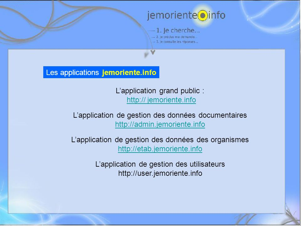 Les applications jemoriente.info Lapplication grand public : http:// jemoriente.info Lapplication de gestion des données documentaires http://admin.je