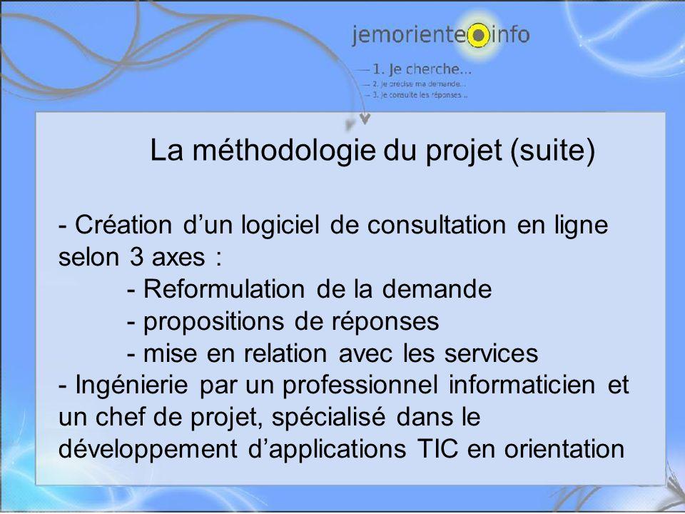 La méthodologie du projet (suite) - Création dun logiciel de consultation en ligne selon 3 axes : - Reformulation de la demande - propositions de réponses - mise en relation avec les services - Ingénierie par un professionnel informaticien et un chef de projet, spécialisé dans le développement dapplications TIC en orientation