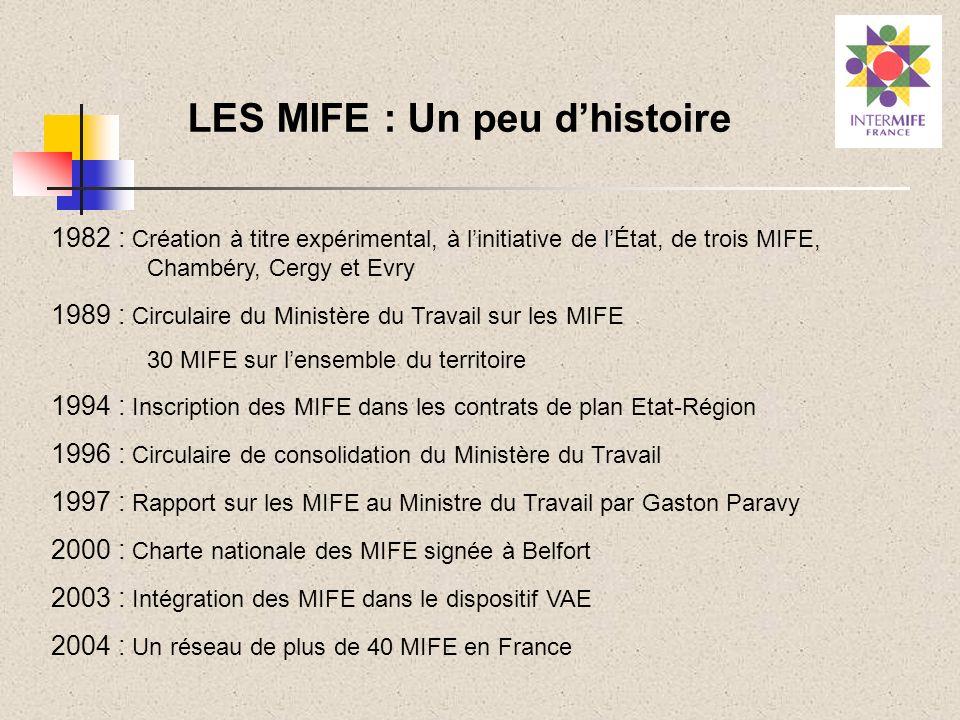 LES MIFE : Un peu dhistoire 1982 : Création à titre expérimental, à linitiative de lÉtat, de trois MIFE, Chambéry, Cergy et Evry 1989 : Circulaire du