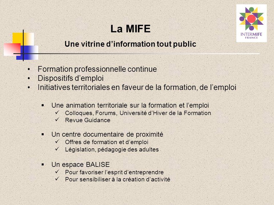 La MIFE Une vitrine dinformation tout public Formation professionnelle continue Dispositifs demploi Initiatives territoriales en faveur de la formatio