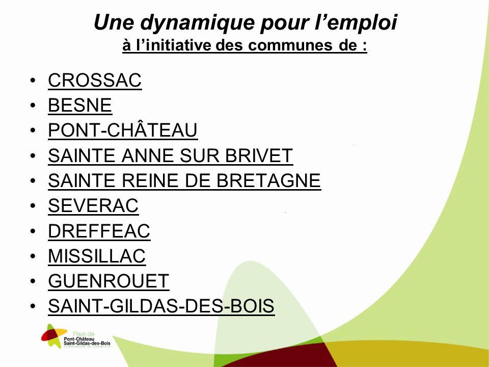 Une dynamique pour lemploi à linitiative des communes de : CROSSAC BESNE PONT-CHÂTEAU SAINTE ANNE SUR BRIVET SAINTE REINE DE BRETAGNE SEVERAC DREFFEAC MISSILLAC GUENROUET SAINT-GILDAS-DES-BOIS