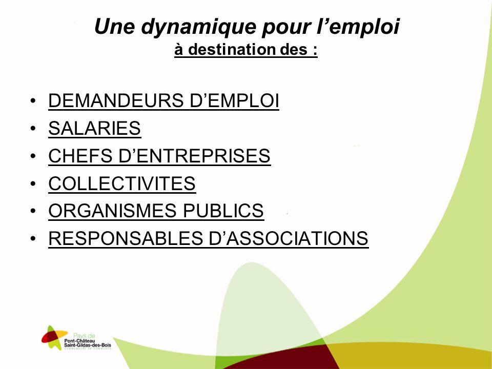 Une dynamique pour lemploi à destination des : DEMANDEURS DEMPLOI SALARIES CHEFS DENTREPRISES COLLECTIVITES ORGANISMES PUBLICS RESPONSABLES DASSOCIATIONS