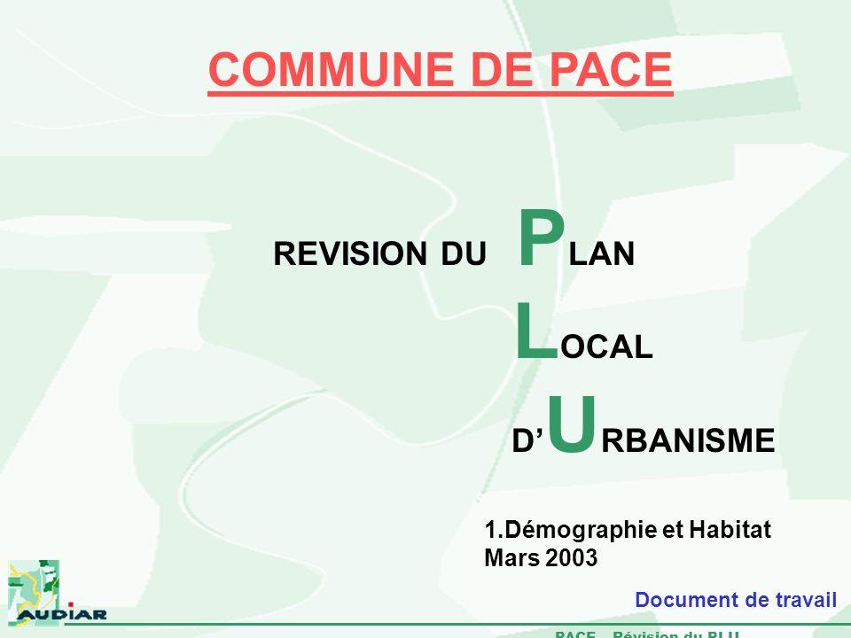 PACE – Révision du PLU 1.Démographie et Habitat Mars 2003 COMMUNE DE PACE REVISION DU P LAN L OCAL D U RBANISME Document de travail