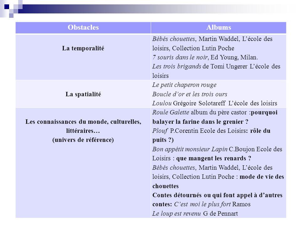 ObstaclesAlbums La temporalité Bébés chouettes, Martin Waddel, Lécole des loisirs, Collection Lutin Poche 7 souris dans le noir, Ed Young, Milan. Les