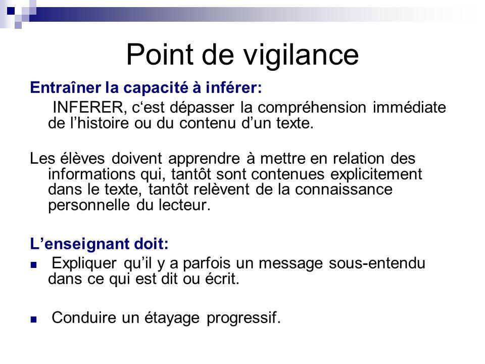 Point de vigilance Entraîner la capacité à inférer: INFERER, cest dépasser la compréhension immédiate de lhistoire ou du contenu dun texte.