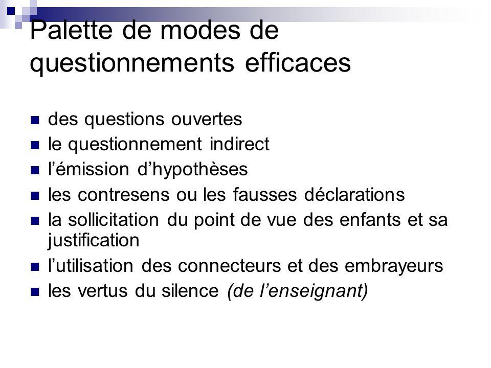 Palette de modes de questionnements efficaces des questions ouvertes le questionnement indirect lémission dhypothèses les contresens ou les fausses dé