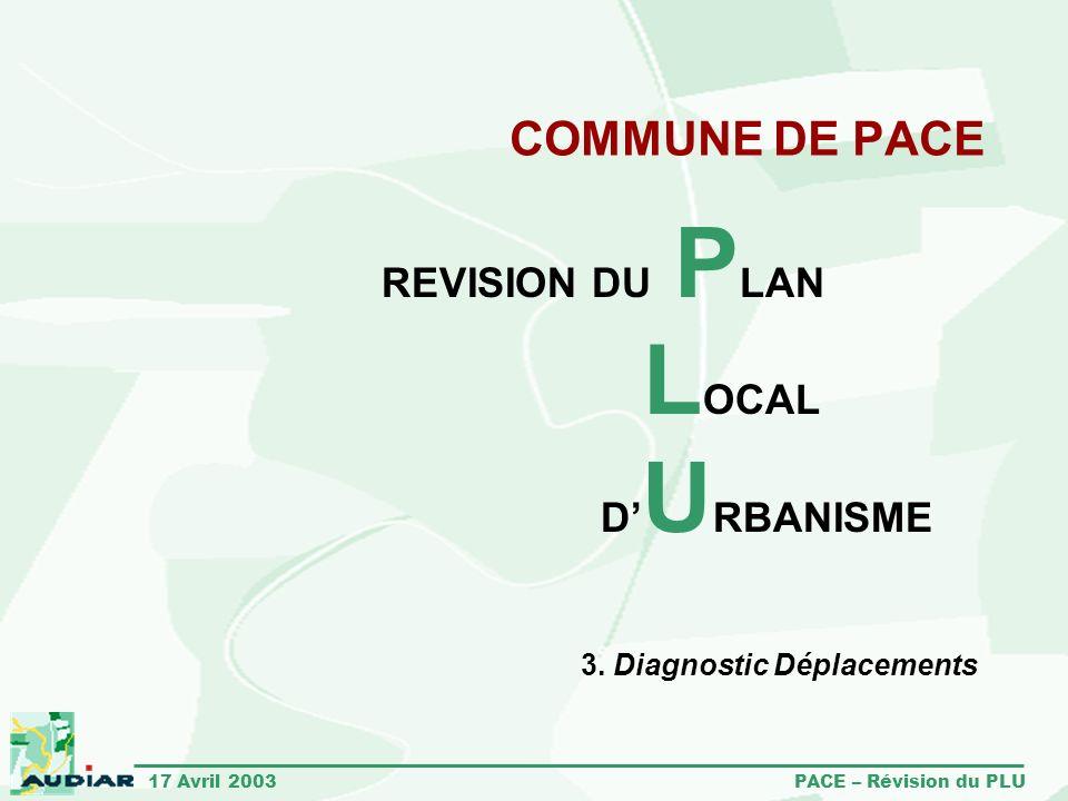 17 Avril 2003 PACE – Révision du PLU COMMUNE DE PACE REVISION DU P LAN L OCAL D U RBANISME 3. Diagnostic Déplacements