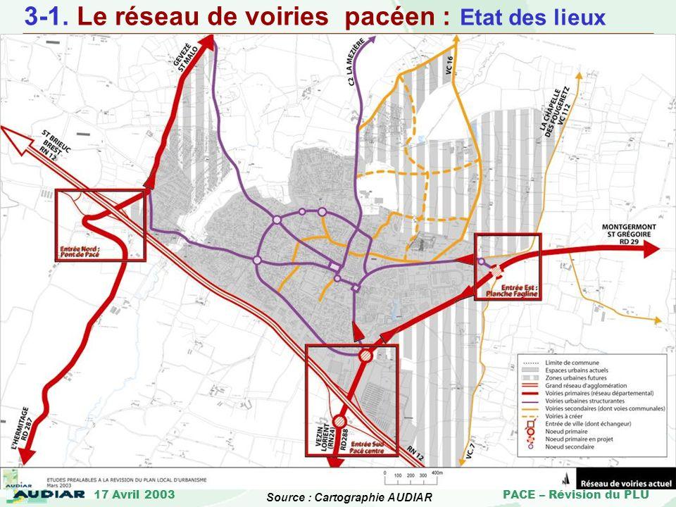 17 Avril 2003 PACE – Révision du PLU Source : Cartographie AUDIAR 3-1. Le réseau de voiries pacéen : Etat des lieux