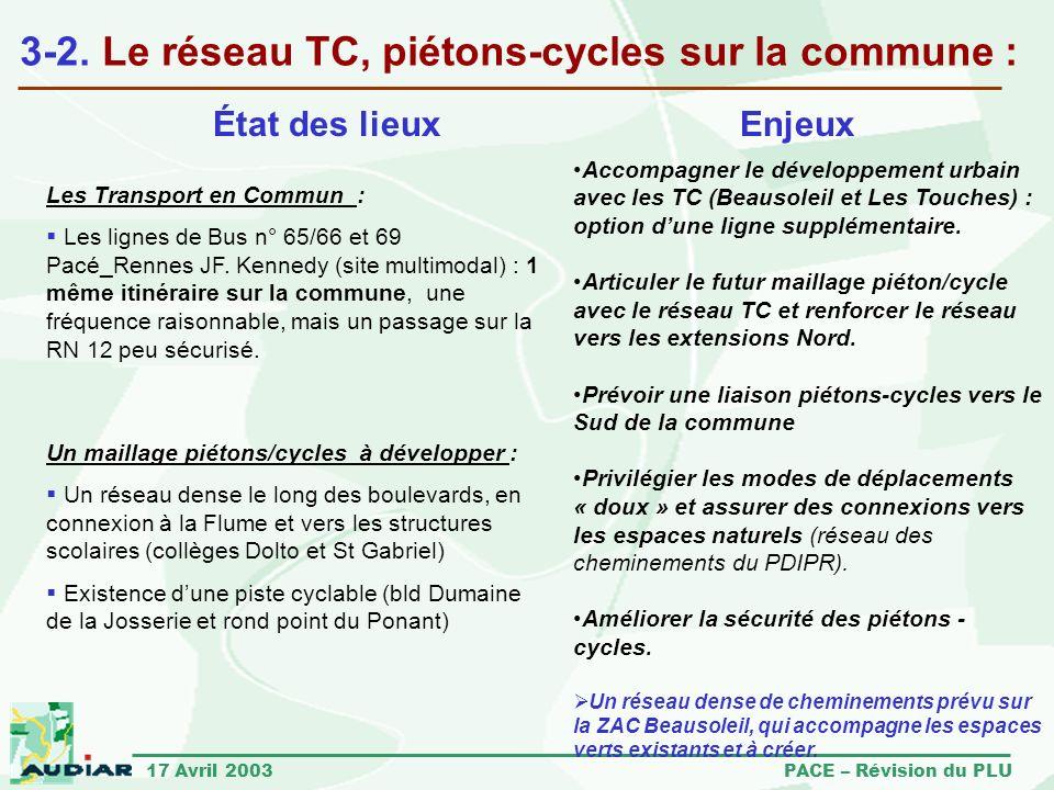17 Avril 2003 PACE – Révision du PLU 3-2. Le réseau TC, piétons-cycles sur la commune : Les Transport en Commun : Les lignes de Bus n° 65/66 et 69 Pac