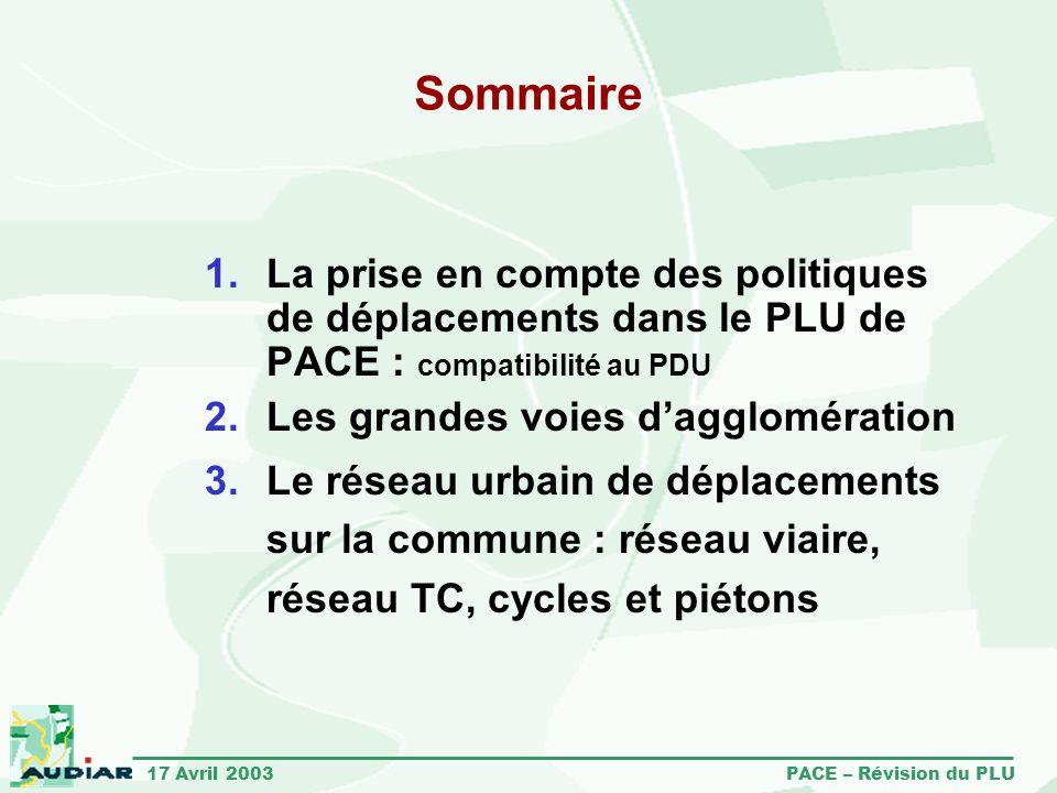 17 Avril 2003 PACE – Révision du PLU Sommaire La prise en compte des politiques de déplacements dans le PLU de PACE : compatibilité au PDU Les grandes