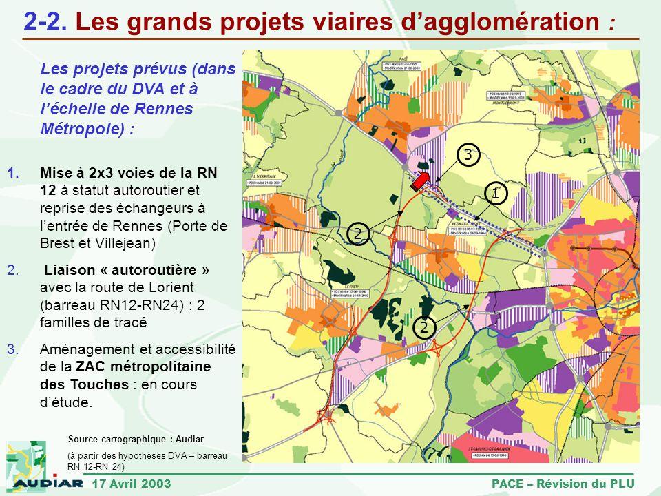17 Avril 2003 PACE – Révision du PLU 2-2. Les grands projets viaires dagglomération : Les projets prévus (dans le cadre du DVA et à léchelle de Rennes