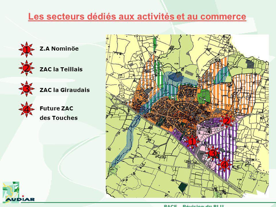 PACE – Révision du PLU Les secteurs dédiés aux activités et au commerce 1 2 3 4 Z.A Nominöe ZAC la Teillais Future ZAC des Touches ZAC la Giraudais 4