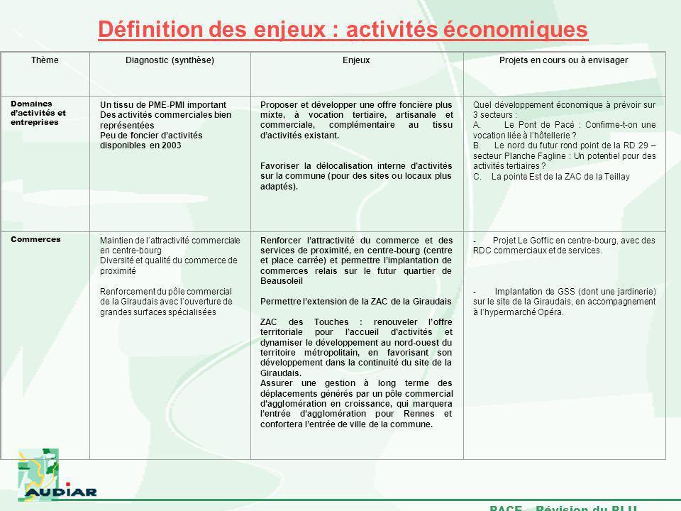 PACE – Révision du PLU Définition des enjeux : activités économiques ThèmeDiagnostic (synthèse)EnjeuxProjets en cours ou à envisager Domaines dactivit