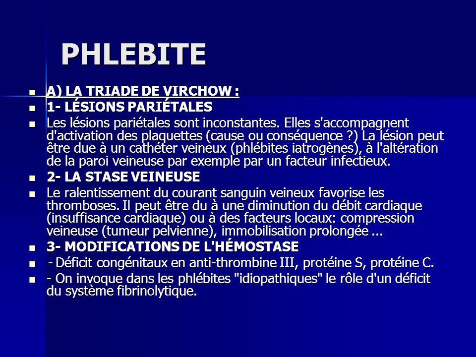 PHLEBITE A) LA TRIADE DE VIRCHOW : A) LA TRIADE DE VIRCHOW : 1- LÉSIONS PARIÉTALES 1- LÉSIONS PARIÉTALES Les lésions pariétales sont inconstantes. Ell